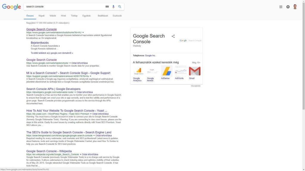JövőMarketing Search Console 1