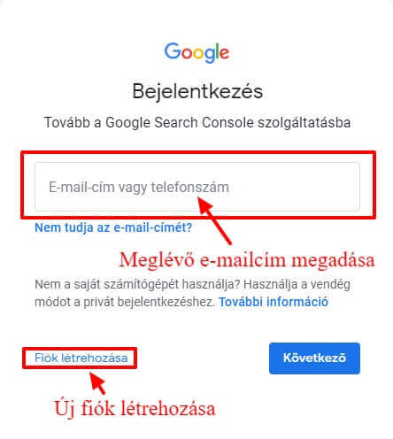 Google Search Console bejelentkezés