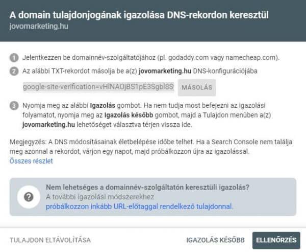 GSC egész domaintulajdon ellenőrzése DNS rekord társításával