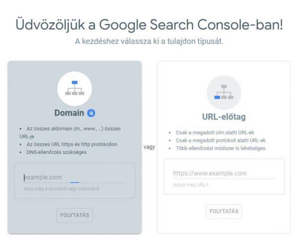 Google Search Console tulajdon hozzáadása