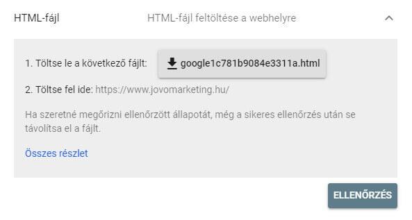 GSC tulajdon ellenőrzés HTML fájl