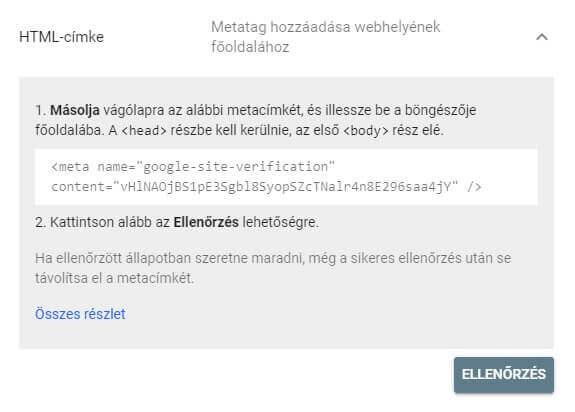 GSC tulajdon ellenőrzés HTML címke