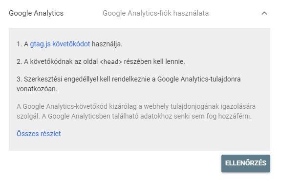 GSC tulajdon ellenőrzés Google Analytics