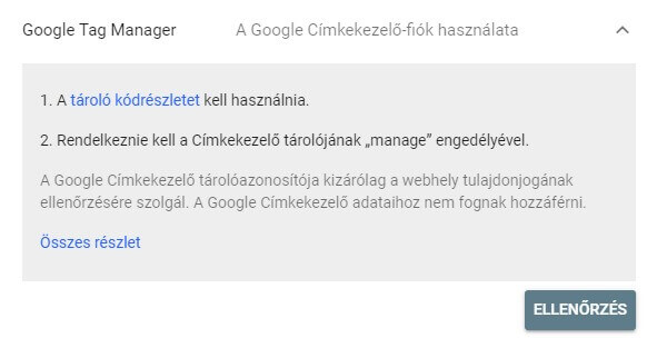 GSC tulajdon ellenőrzése Google Tag Manager segítségével
