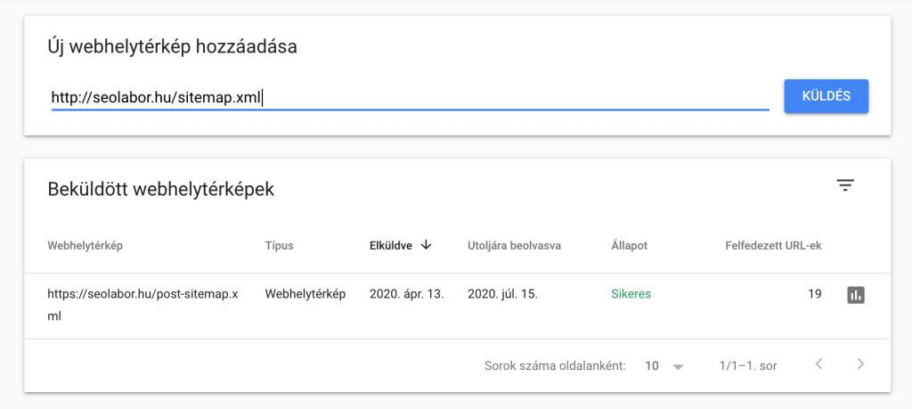 Webhelytérkép beküldése Search Console-ba